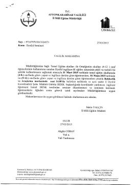 Müdürlüğümüzün konu ile ilgili 27/03/2015 tarih ve 3324571 sayılı