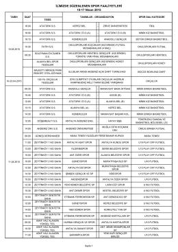 10-17 Nisan 2015 Faaliyet Programı