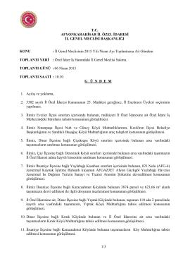 İl Genel Meclisinin 2015 Yılı Nisan Ayı