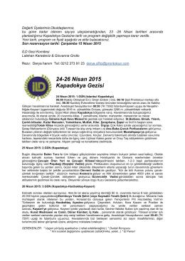 24-26 Nisan 2015 Kapadokya Gezisi