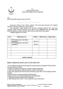 îSayı : Konu: Kati Teklif vermeye davet (2015/176)