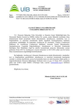 AZERBAYCAN`A İHRACATTA TEKNİK DÜZENLEMELER