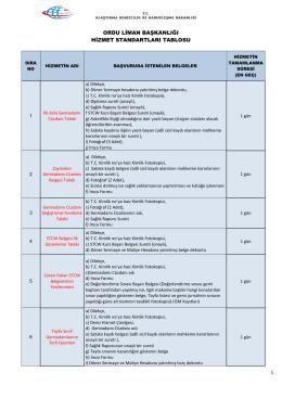 Ordu Liman Başkanlığı Hizmet Standartları Tablosu