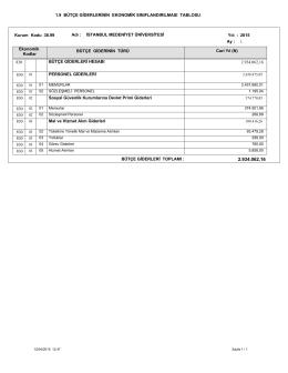 Tablo 1.9 Bütçe Giderlerinin Ekonomik Sınıflandırılması Tablosu