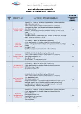 Edremit Liman Başkanlığı Hizmet Standartları Tablosu