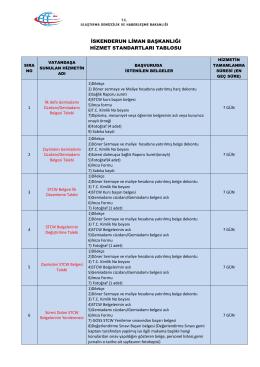 İskenderun Liman Başkanlığı Hizmet Standartları Tablosu