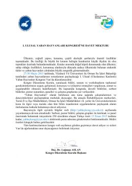 kongre davet mektubu - Yüzüncü Yıl Üniversitesi