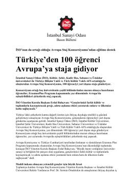 Türkiye`den 100 öğrenci Avrupa`ya staja gidiyor