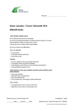 Sınav soruları: T e m el Güvenlik VCA Etkinlik kodu: