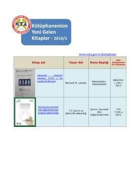 Kütüphanemize Yeni Gelen Kitaplar - 2014/1