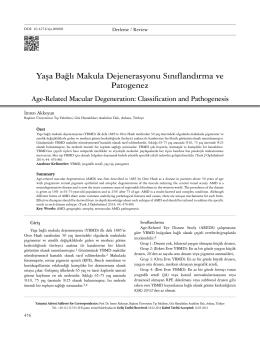 Yaşa Bağlı Makula Dejenerasyonu Sınıflandırma ve Patogenez Age
