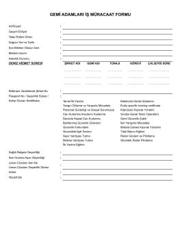 gemi adamları iş müraacat formu pdf