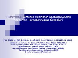 Mn Işıldarının Termolüminesans Özellikleri