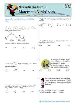 Kazanım: Özel sayı örüntüleri arasındaki ilişkiyi açıklar. n n 1