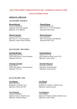 Yarışma Sonuçları PDF Dökümanı