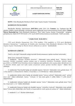 45. komisyon raporu - Ordu Büyükşehir Belediyesi