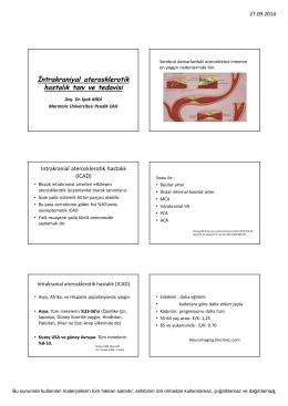 İntrakraniyal aterosklerotik hastalık tanı ve tedavisi