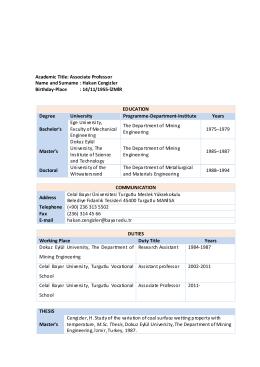 Hakan Cengizler - Celal Bayar Üniversitesi
