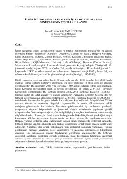 İzmir İli Jeotermal Sahaların İşletme Sorunları ve Sonuçlarının Çeşitli