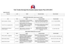 2014-2015 Şube Eylem Planları