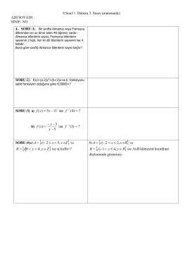 Page 1 9.Sınıf 1. Dönem 3. Sınav (matematik) ADI SOYADI : SINIF