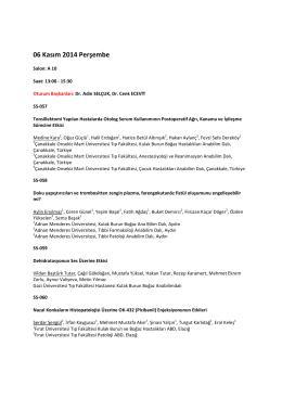 Sözlü Bildiri Oturumu - 36. Türk Ulusal Kulak Burun Boğaz ve Baş