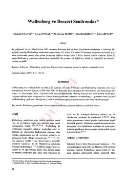 Wallenberg ve Benzeri Sendromlar*