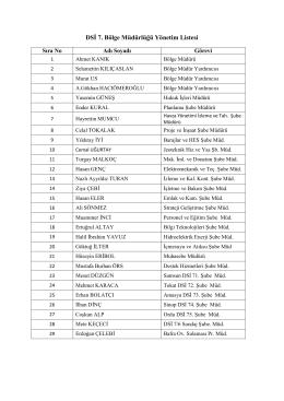 DSİ 7. Bölge Müdürlüğü Yönetim Listesi