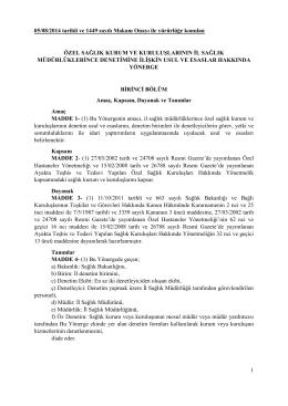 1 05/08/2014 tarihli ve 1449 sayılı Makam Onayı