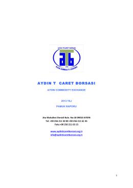 Pamuk Raporu - Aydın Ticaret Borsası
