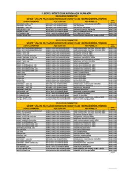 Ocak Ayı ASM Listesi - Niğde Halk Sağlığı Müdürlüğü