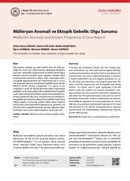 Mülleryan Anomali ve Ektopik Gebelik: Olgu Sunumu