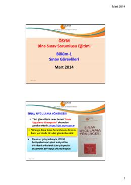 YGS 2014 Bina Sınav Sorumluları Eğitimi Slaytını indirmek için