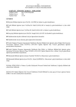 6 Kasım - 4 Aralık 2014 Fakülte Yönetim Kurulu Kararları