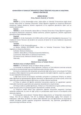 adana bilim ve teknoloji üniversitesi türkçe öğretimi