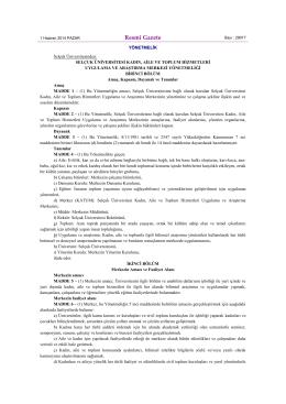 Resmî Gazete - Selçuk Üniversitesi