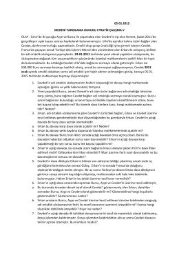 05.01.2015 MEDENİ YARGILAMA HUKUKU I PRATİK ÇALIŞMA V