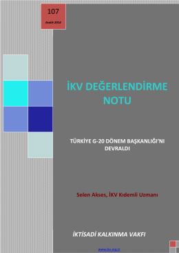 Türkiye G-20 Dönem Başkanlığı - Aralık 2014