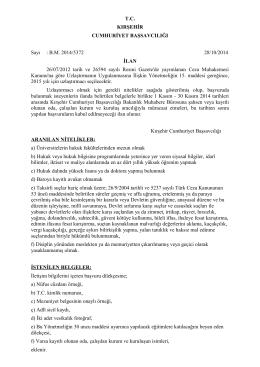 T.C. KIRŞEHİR CUMHURİYET BAŞSAVCILIĞI Sayı : B.M. 2014