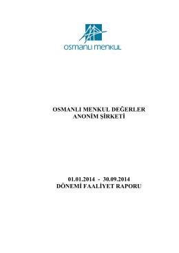 30.09.2014 dönemi faaliyet raporu
