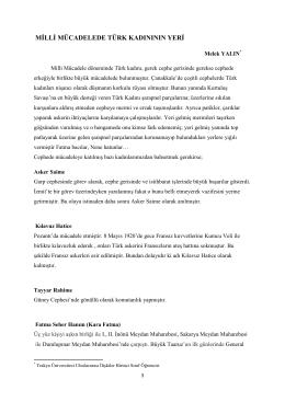 Milli Mücadelede Türk Kadınının Yeri