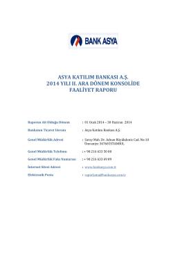 ASYA KATILIM BANKASI A.Ş. 2014 YILI II. ARA