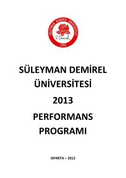 Performans Programı 2013 - Strateji Geliştirme Daire Başkanlığı