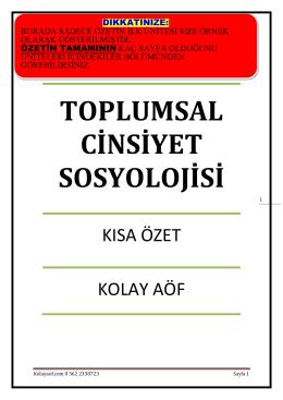 TOPLUMSAL CİNSİYET SOSYOLOJİSİ