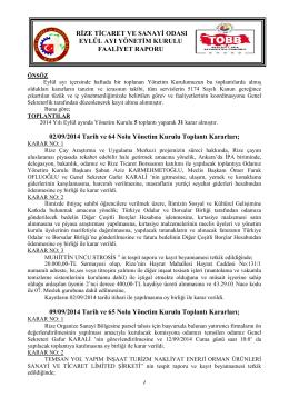 Eylül Faaliyet Raporu - Rize Ticaret ve Sanayi Odası