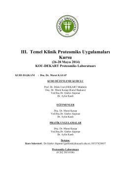III. Temel Klinik Proteomiks Uygulamaları Kursu (26