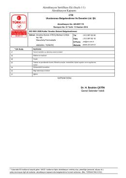 Akreditasyon Sertifikası Eki (Sayfa 1/1) Akreditasyon Kapsamı