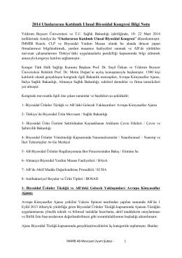 2014 Uluslararası Katılımlı Ulusal Biyosidal Kongresi Bilgi Notu