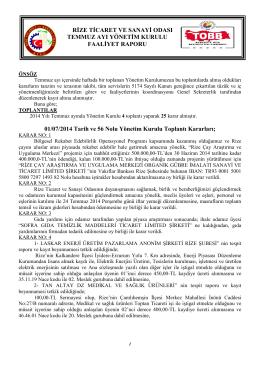 Temmuz Faaliyet Raporu - Rize Ticaret ve Sanayi Odası