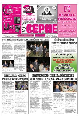 23.09.2014 Tarihli Cephe Gazetesi